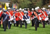 Massed Medina Marching and Vectis Corps Bands enter Warnes Field